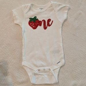 Strawberry One Year onesie